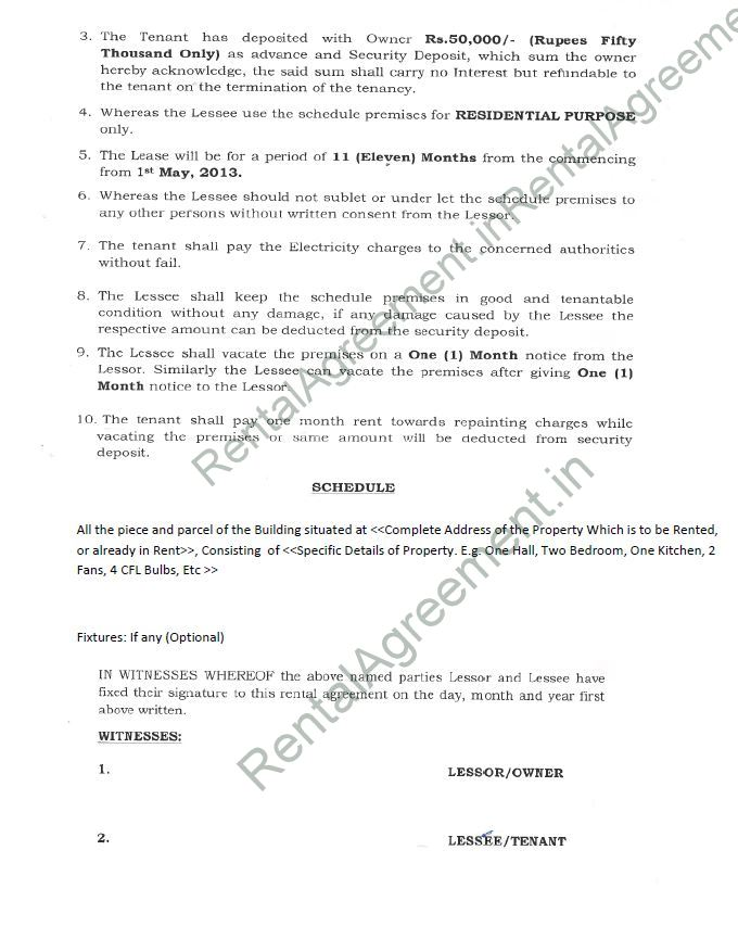 Rental Agreement Format Agreement & Affidavit Rental