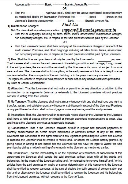Maharashtra Rental Agreement Sample And Format Leave And License