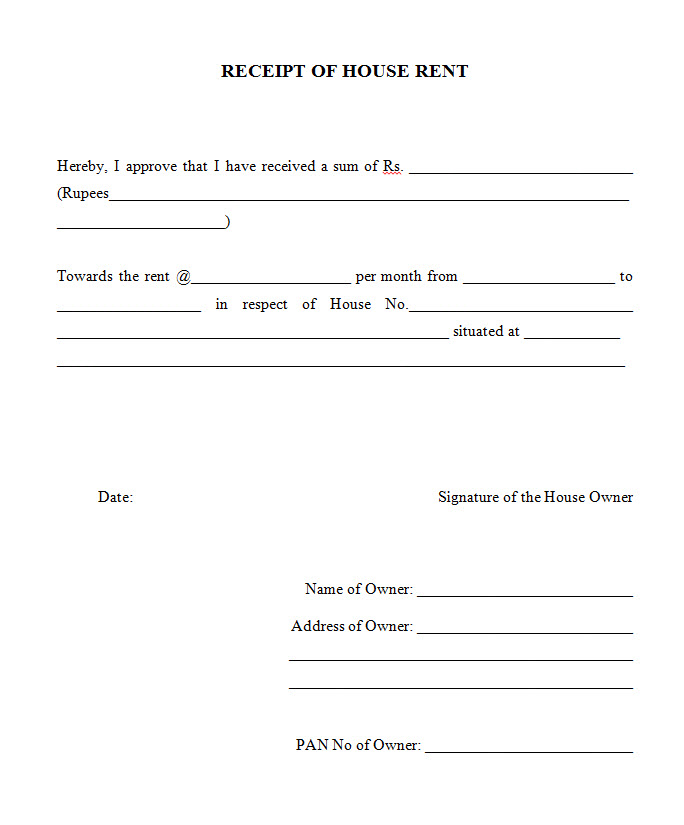 Rent Receipt Formats Declaration Form – Format of House Rent Receipt